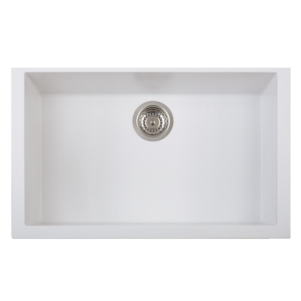 Latoscana Single Basin Undermount Sink ON7610ST Kitchen Sink Latoscana Milk White