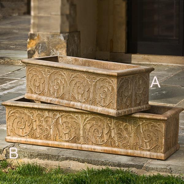 Campania International Cast Stone Arabesque Medium Window Box Urn/Planter Campania International