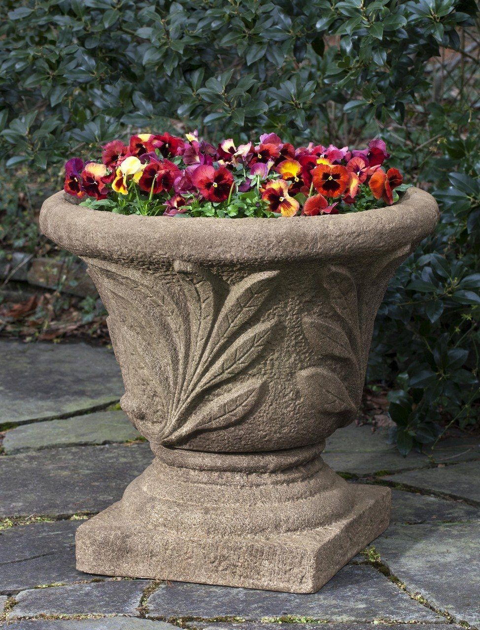 Campania International Cast Stone Super Leaf Planter w/ Large Pedestal Urn/Planter Campania International