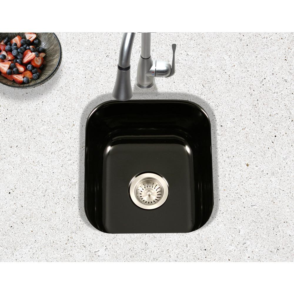 Houzer BL Porcela Series Porcelain Enamel Steel Undermount Bar/Prep Sink, Black Kitchen Sink - Undermount Houzer
