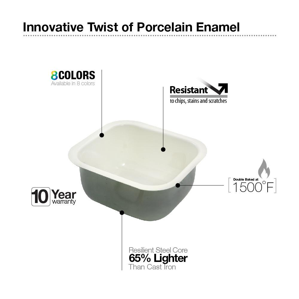 Houzer BQ Porcela Series Porcelain Enamel Steel Undermount Bar/Prep Sink, Biscuit Kitchen Sink - Undermount Houzer