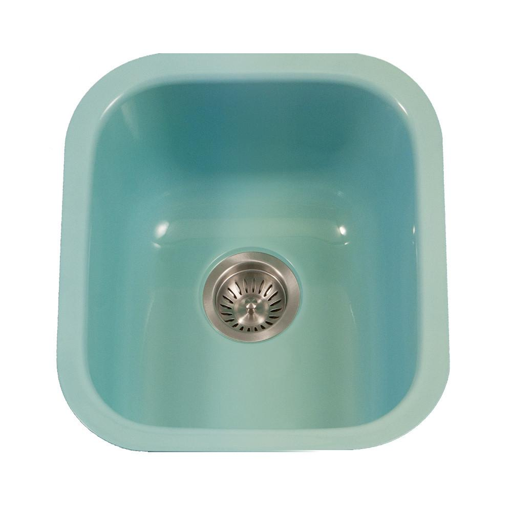 Houzer MT Porcela Series Porcelain Enamel Steel Undermount Bar/Prep Sink, Mint Kitchen Sink - Undermount Houzer