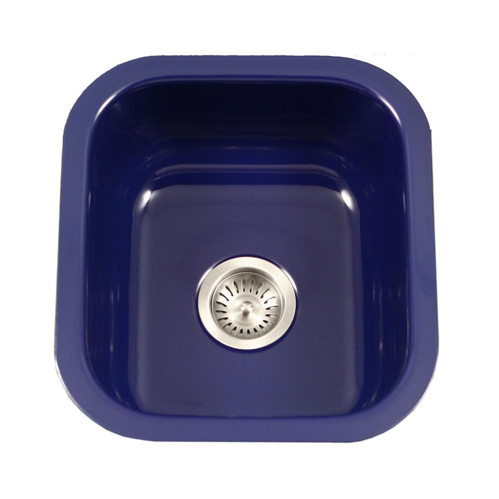 Houzer NB Porcela Series Porcelain Enamel Steel Undermount Bar/Prep Sink, Navy Blue Kitchen Sink - Undermount Houzer