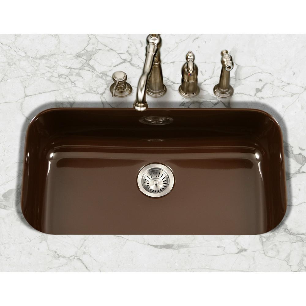 Houzer ES Porcela Series Porcelain Enamel Steel Undermount Large Single Bowl Kitchen Sink, Espresso Kitchen Sink - Undermount Houzer