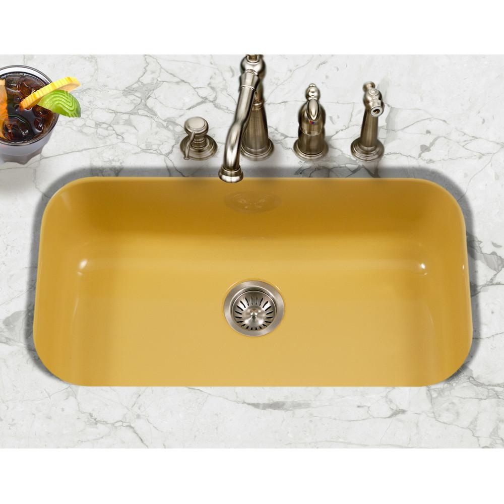 Houzer LE Porcela Series Porcelain Enamel Steel Undermount Large Single Bowl Kitchen Sink, Lemon Kitchen Sink - Undermount Houzer