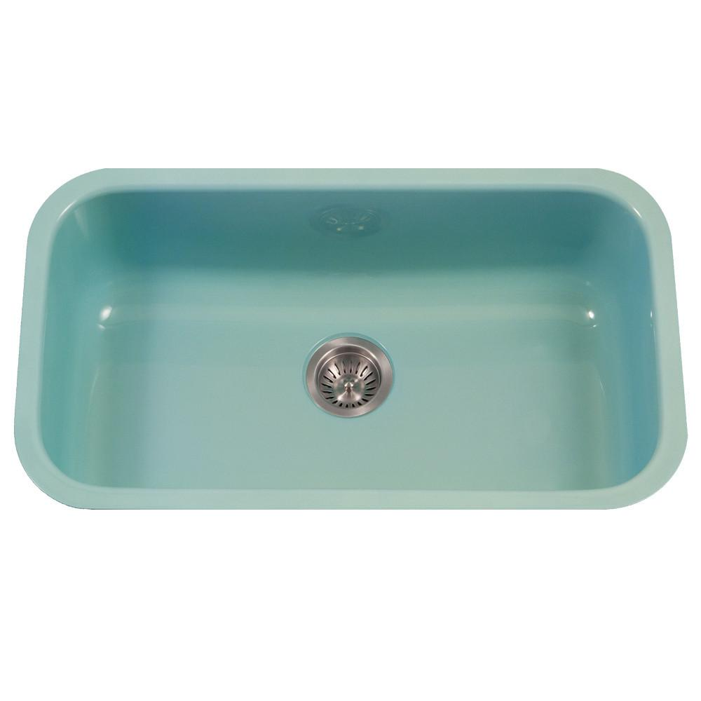 Houzer MT Porcela Series Porcelain Enamel Steel Undermount Large Single Bowl Kitchen Sink, Mint Kitchen Sink - Undermount Houzer