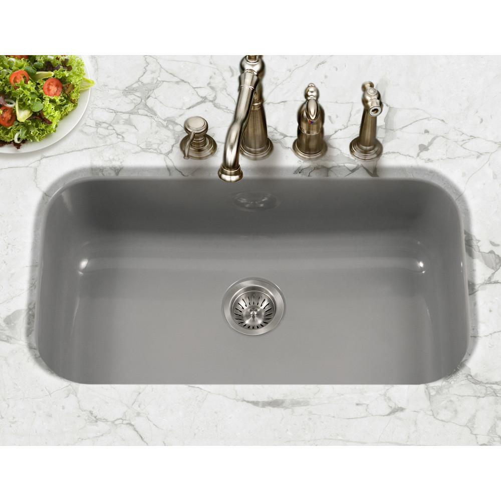 Houzer SL Porcela Series Porcelain Enamel Steel Undermount Large Single Bowl Kitchen Sink, Slate Kitchen Sink - Undermount Houzer