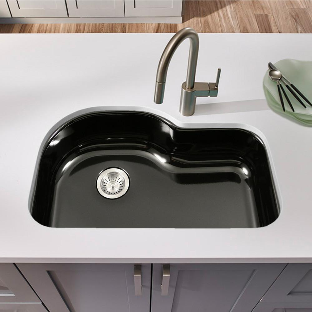 Houzer BL Porcela Series Porcelain Enamel Steel Undermount Offset Single Bowl Kitchen Sink, Black Kitchen Sink - Undermount Houzer