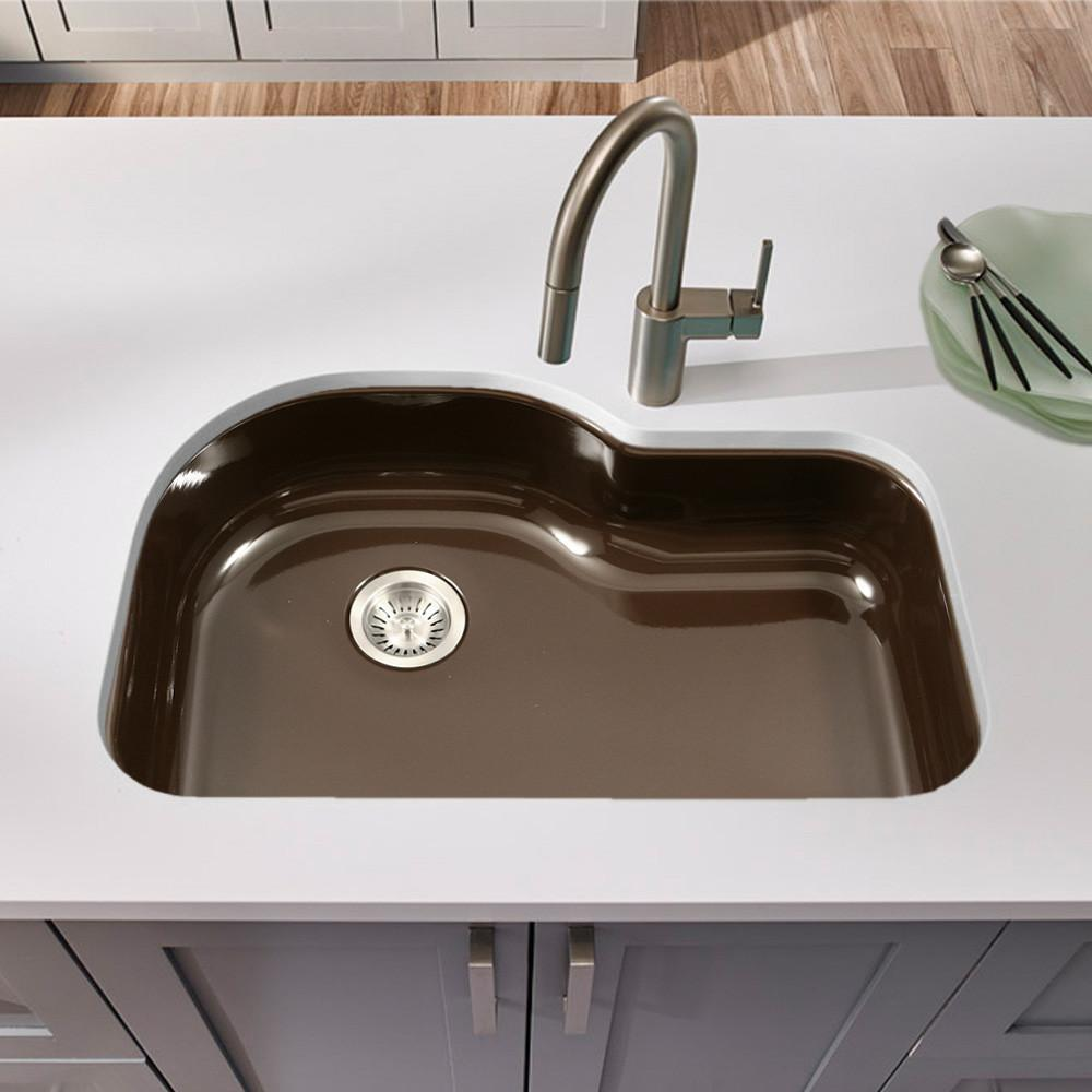 Houzer ES Porcela Series Porcelain Enamel Steel Undermount Offset Single Bowl Kitchen Sink, Espresso Kitchen Sink - Undermount Houzer