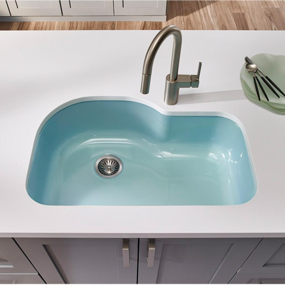 Houzer MT Porcela Series Porcelain Enamel Steel Undermount Offset Single Bowl Kitchen Sink, Mint Kitchen Sink - Undermount Houzer