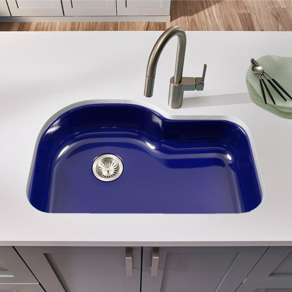 Houzer NB Porcela Series Porcelain Enamel Steel Undermount Offset Single Bowl Kitchen Sink, Navy Blue Kitchen Sink - Undermount Houzer