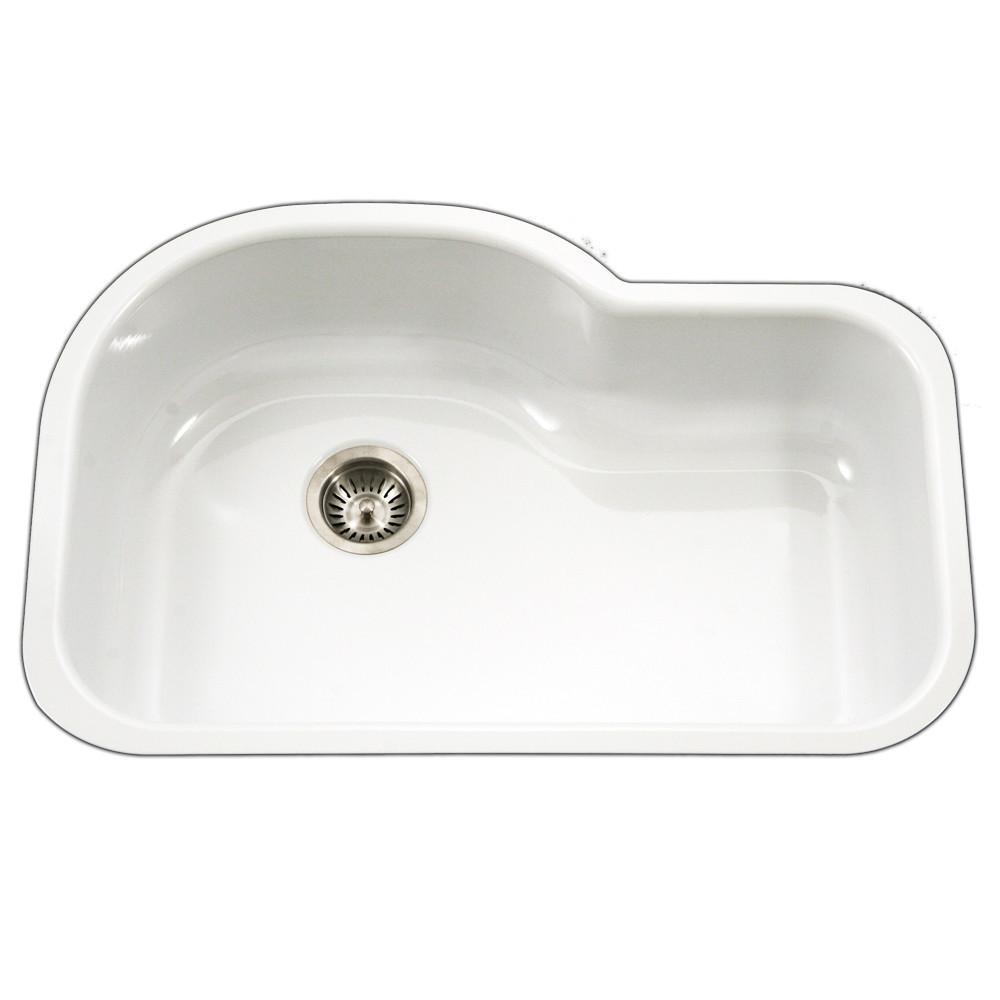 Houzer WH Porcela Series Porcelain Enamel Steel Undermount Offset Single Bowl Kitchen Sink, White Kitchen Sink - Undermount Houzer