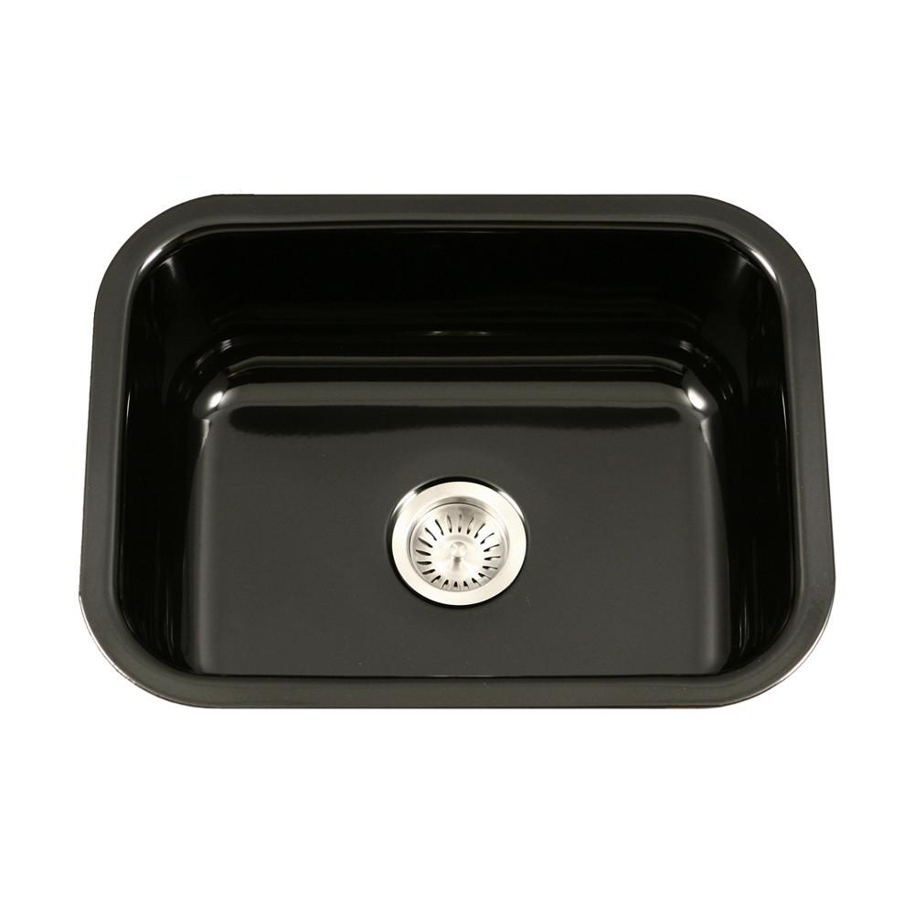Houzer BL Porcela Series Porcelain Enamel Steel Undermount Single Bowl Kitchen Sink, Black Kitchen Sink - Undermount Houzer