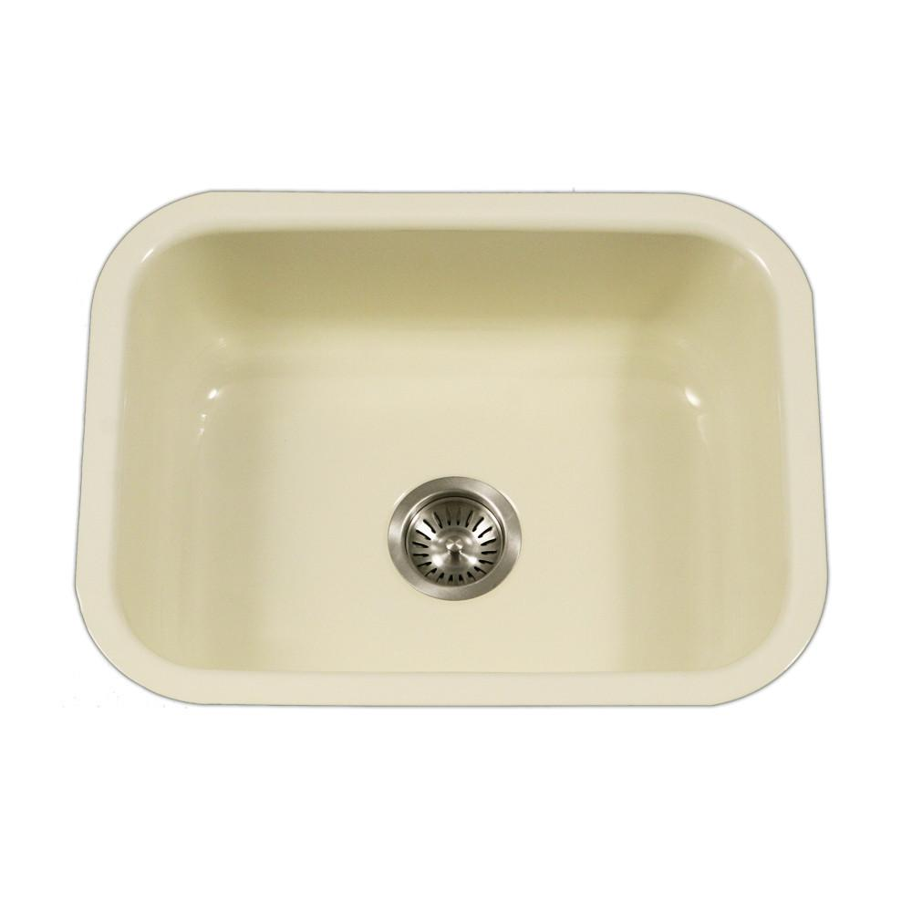 Houzer BQ Porcela Series Porcelain Enamel Steel Undermount Single Bowl Kitchen Sink, Biscuit Kitchen Sink - Undermount Houzer