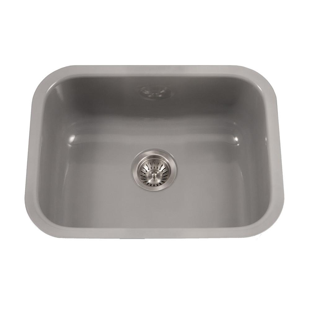 Houzer SL Porcela Series Porcelain Enamel Steel Undermount Single Bowl Kitchen Sink, Slate Kitchen Sink - Undermount Houzer
