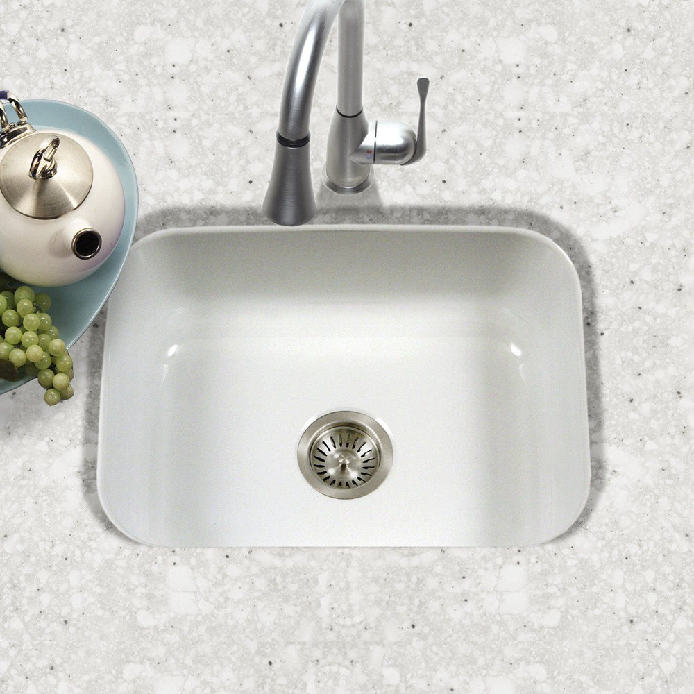 Houzer WH Porcela Series Porcelain Enamel Steel Undermount Single Bowl Kitchen Sink, White Kitchen Sink - Undermount Houzer