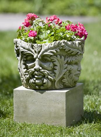 Campania International Cast Stone Textured Sm Low Sq Pedestal Urn/Planter Campania International