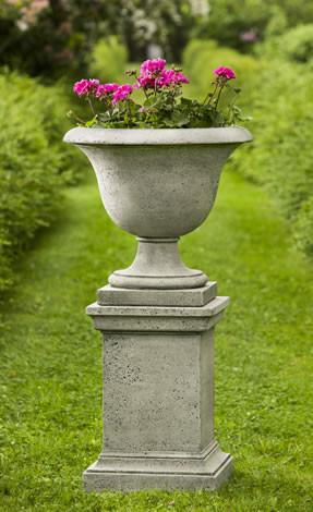 Campania International Cast Stone Greenwich Rustic Pedestal Urn/Planter Campania International