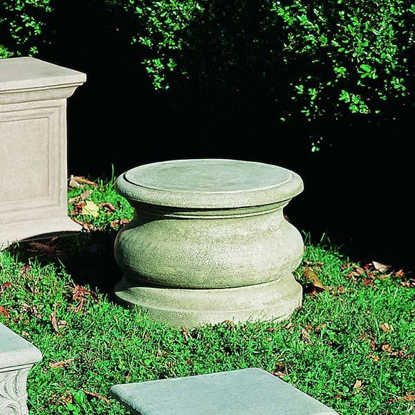 Campania International Cast Stone Low Round Plain Pedestal Urn/Planter Campania International
