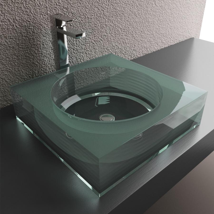 Cantrio Square Layered glass vessel sink, Crystal Glass Glass Series Cantrio