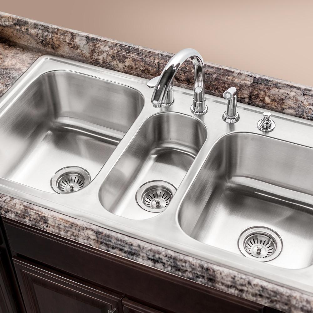 Houzer Premiere Gourmet Series Topmount Stainless Steel 4-Hole Triple Bowl Kitchen Sink Kitchen Sink - Topmount Houzer
