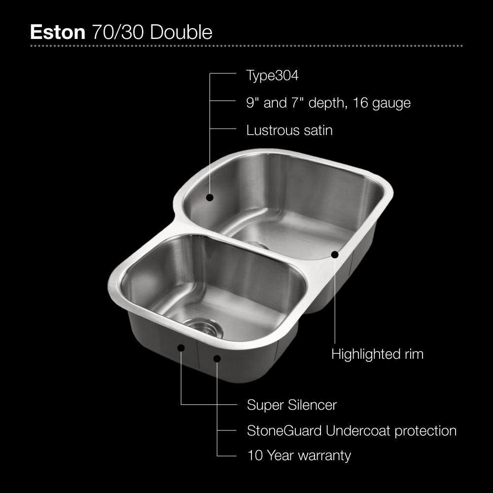 Houzer Eston Series Undermount Stainless Steel 70/30 Double Bowl Kitchen Sink, Small Bowl Left, 16 Gauge Kitchen Sink - Undermount Houzer
