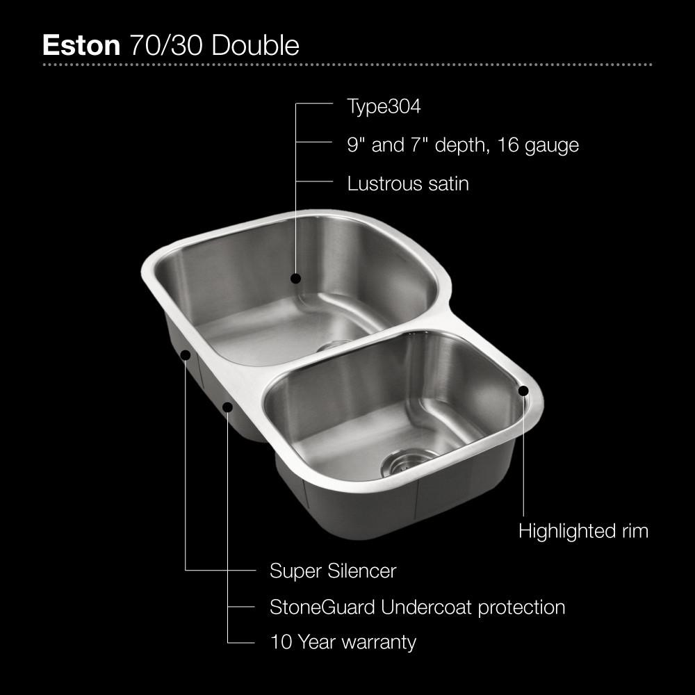 Houzer Eston Series Undermount Stainless Steel 70/30 Double Bowl Kitchen Sink, Small Bowl Right, 16 Gauge Kitchen Sink - Undermount Houzer