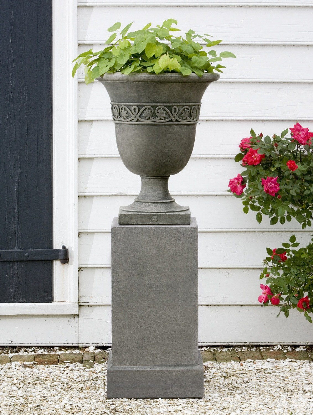 Campania International Cast Stone Wburg Strapwork Leaf Urn w/ Classic Tall Pedestal Urn/Planter Campania International