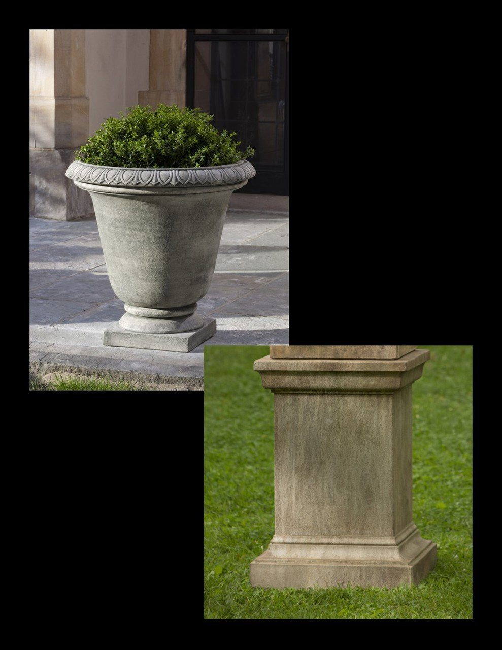 Campania International Cast Stone Millbridge Urn with Pedestal Urn/Planter Campania International