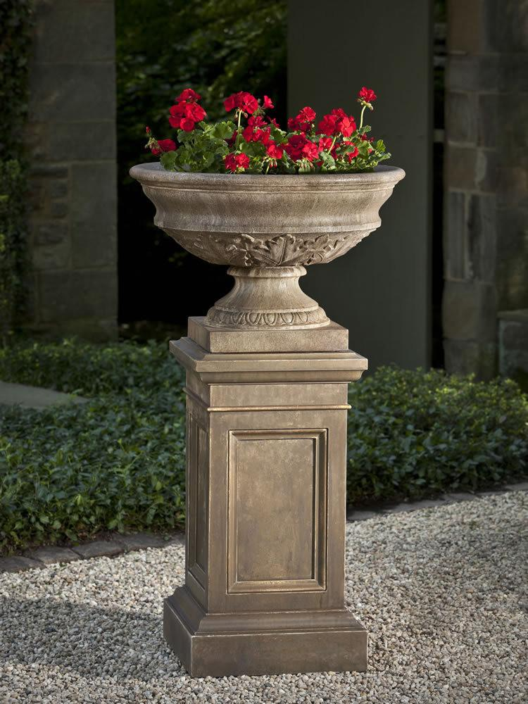 Campania International Cast Stone Coachhouse Urn with Pedestal Urn/Planter Campania International