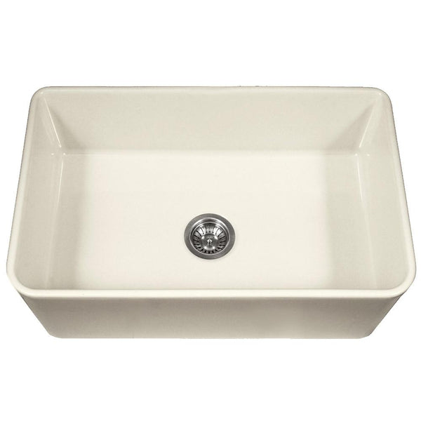 Houzer BQ Platus Series 33-Inch Apron-Front Fireclay Single Bowl Kitchen Sink, Biscuit