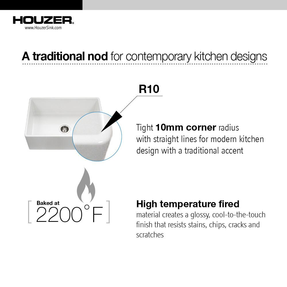 Houzer BQ Platus Series 30-Inch Apron-Front Fireclay Single Bowl Kitchen Sink, Biscuit Kitchen Sink - Apron Front Houzer
