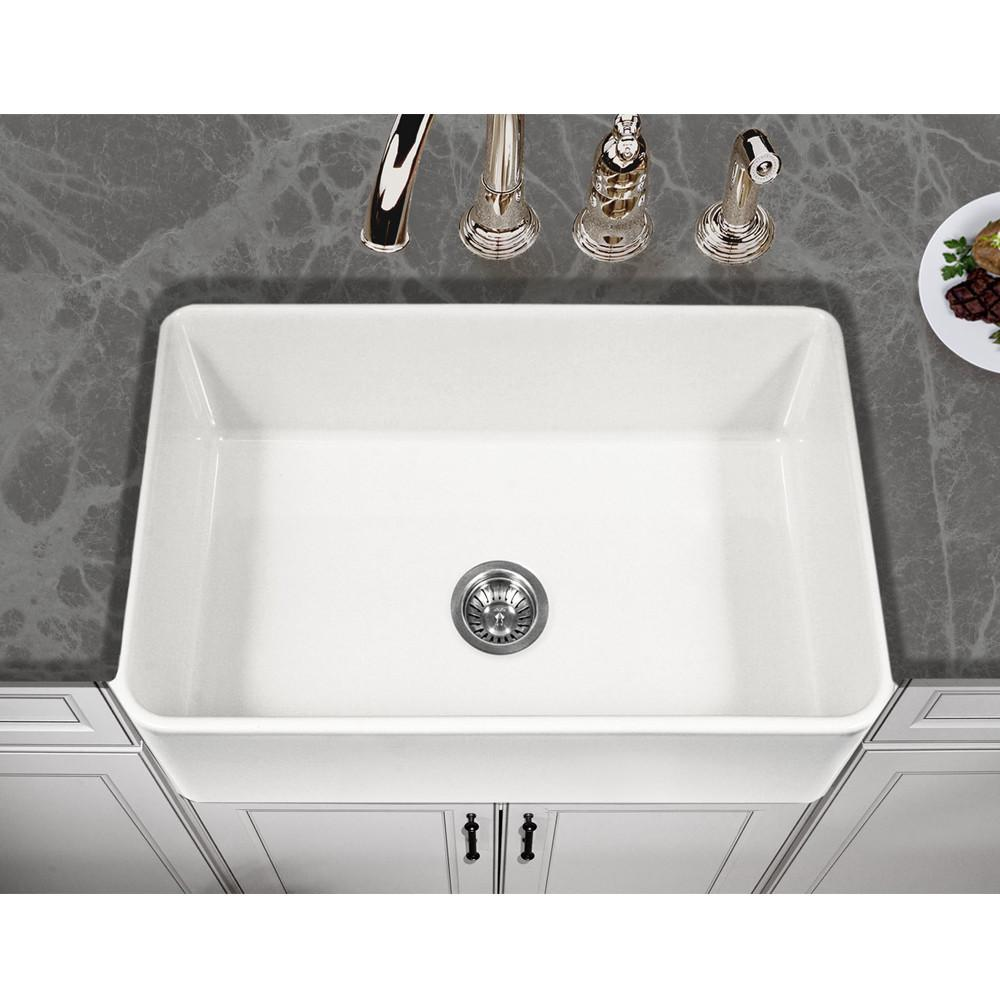 Houzer WH Platus Series 30-Inch Apron-Front Fireclay Single Bowl Kitchen Sink, White Kitchen Sink - Apron Front Houzer