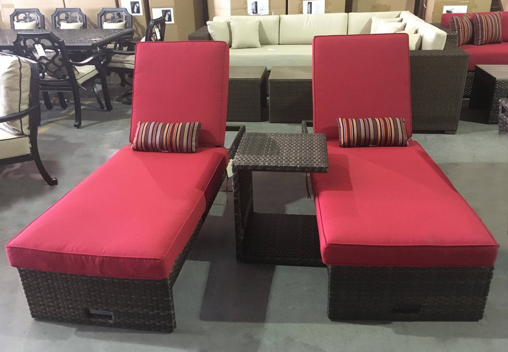 Panorama Red Chaise Lounge Set Of 3 Outdoor Furniture Tuscan