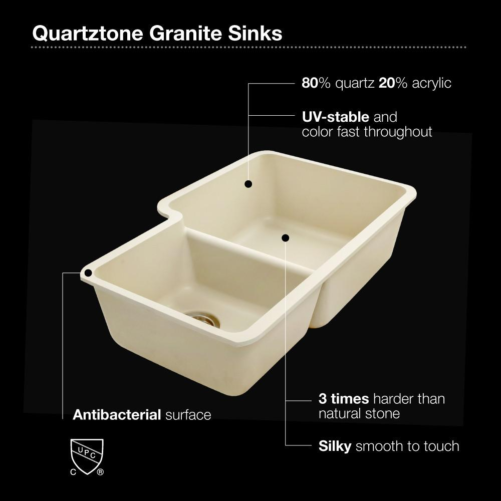 Houzer CLOUD Quartztone Series Granite Undermount 70/30 Double Bowl Kitchen Sink, White Kitchen Sink - Undermount Houzer