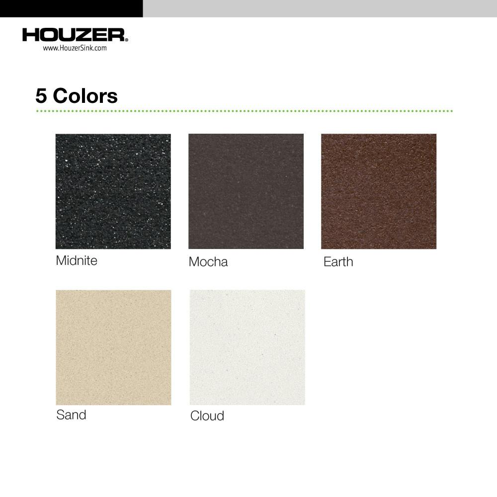 Houzer SAND Quartztone Series Granite Undermount 70/30 Double Bowl Kitchen Sink, Sand Kitchen Sink - Undermount Houzer