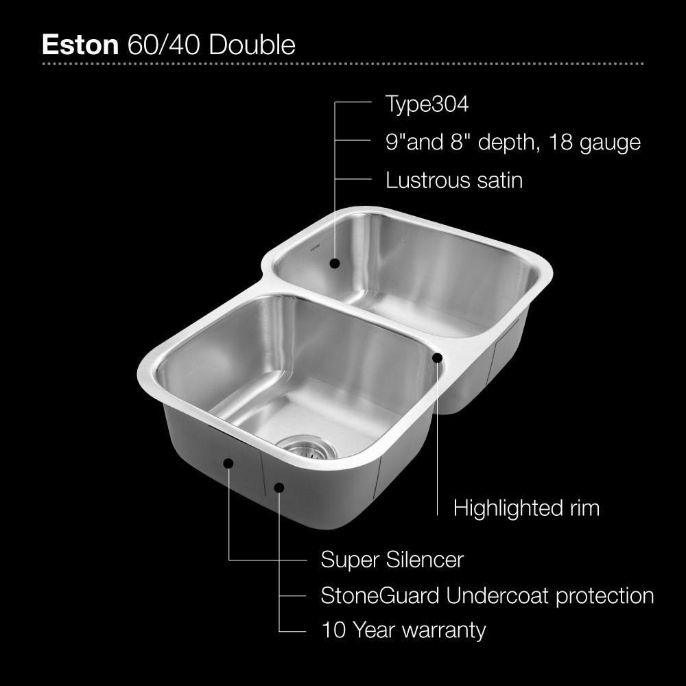 Houzer Eston Series Undermount Stainless Steel 60/40 Double Bowl Kitchen Sink 18 Gauge Kitchen Sink - Undermount Houzer