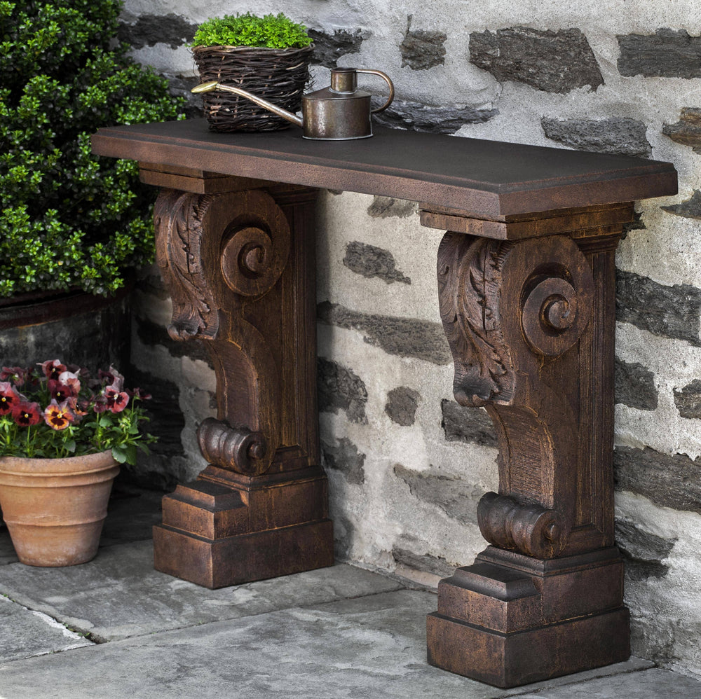 Campania International Cast Stone Manor House Console Table Outdoor Benches/Tables Campania International