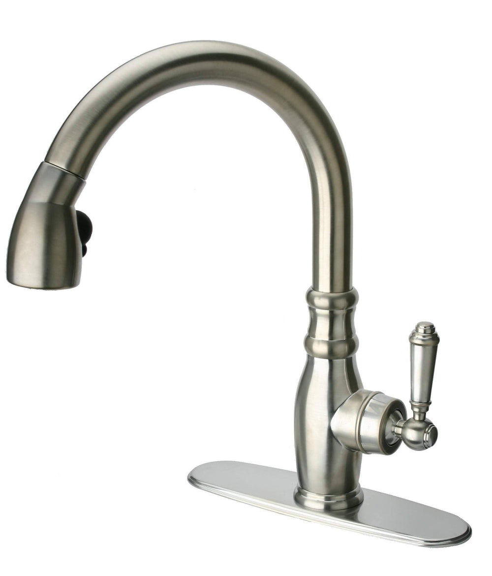 Latoscana Old Fashioned Single Handle Pull-Down Spray Kitchen Faucet In Brushed Nickel Kitchen Faucet Latoscana