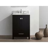 Eviva Aberdeen 24 Transitional Espresso Vanity with White Carrera Countertop