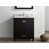 Eviva Aberdeen 30 Transitional Espresso Vanity with White Carrera Countertop
