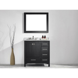 Eviva Aberdeen 36 Transitional Espresso Vanity with White Carrera Countertop