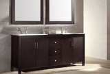 "ARIEL Hanson 72"" Double Sink Bathroom Vanity Set in Espresso"