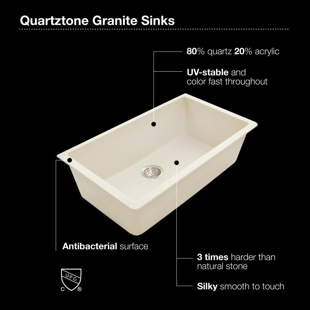 Houzer MIDNITE Quartztone Series Granite Undermount Large Single Bowl Kitchen Sink, Black Kitchen Sink - Undermount Houzer
