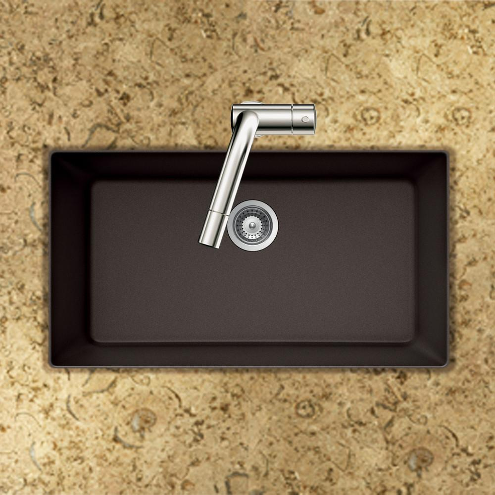 Houzer MOCHA Quartztone Series Granite Undermount Large Single Bowl Kitchen Sink, Mocha Kitchen Sink - Undermount Houzer
