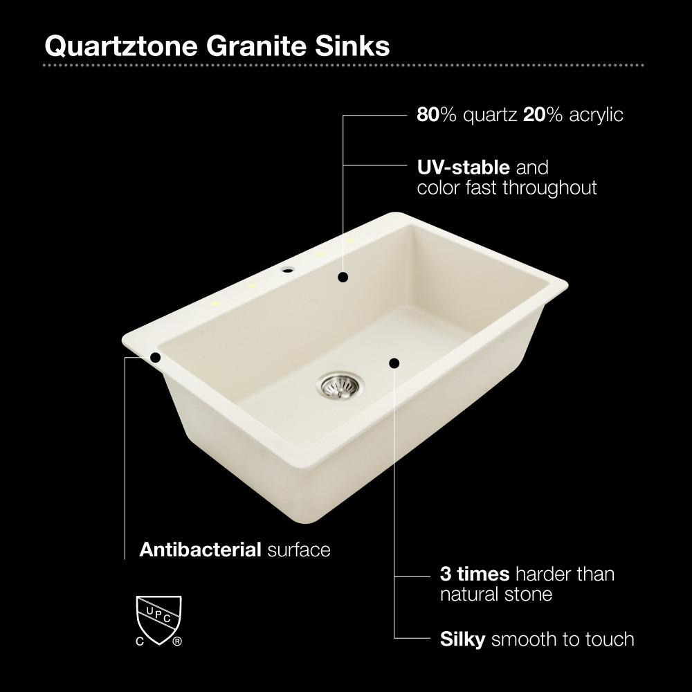Houzer MIDNITE Quartztone Series Granite Topmount Large Single Bowl Kitchen Sink, Black Kitchen Sink - Topmount Houzer
