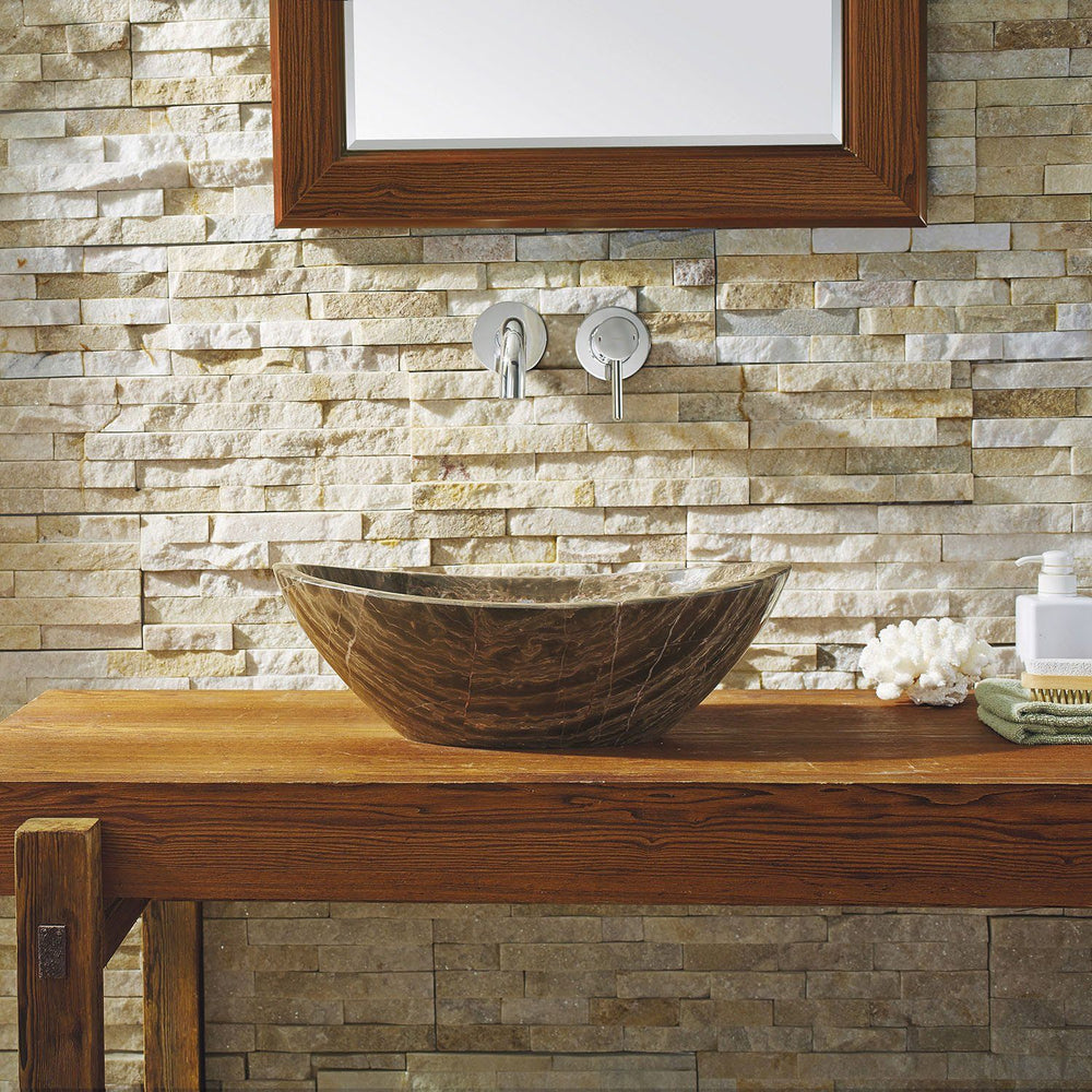 Virtu USA Doris Natural Stone Bathroom Vessel Sink in Coffee Marble Bathroom Sink Virtu USA