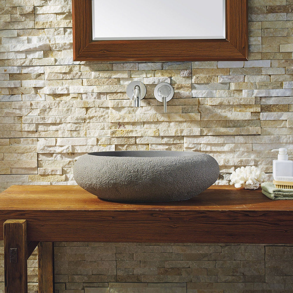 Virtu USA Cora Natural Stone Bathroom Vessel Sink in Andesite Granite