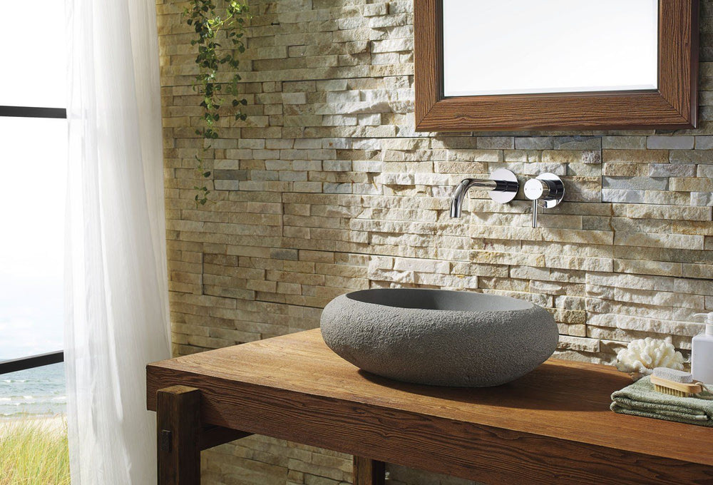 Virtu USA Cora Natural Stone Bathroom Vessel Sink in Andesite Granite Bathroom Sink Virtu USA