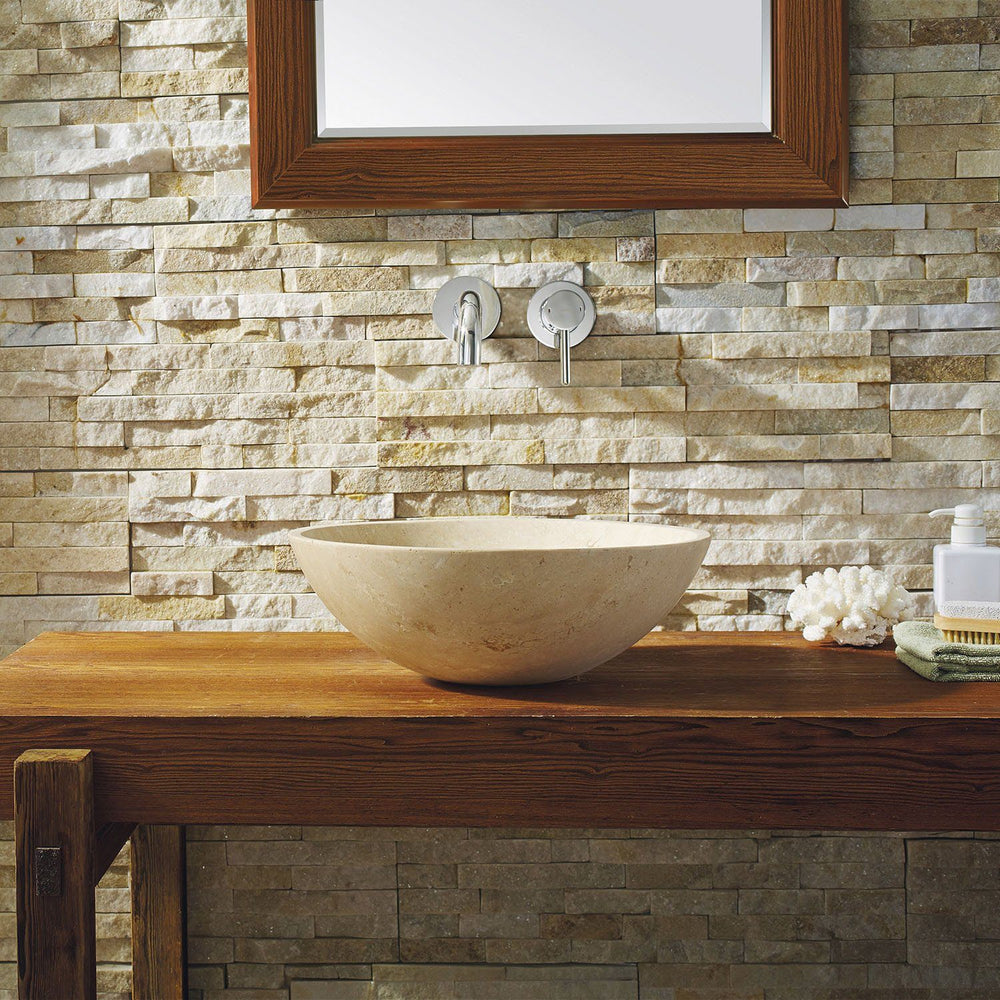 Virtu USA Nyx Natural Stone Bathroom Vessel Sink in Beige Travertine Marble Bathroom Sink Virtu USA